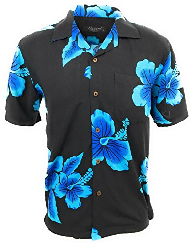Favant Tropical Luau Beach Hibiscus Floral Print Men's Hawaiian Aloha Shirt