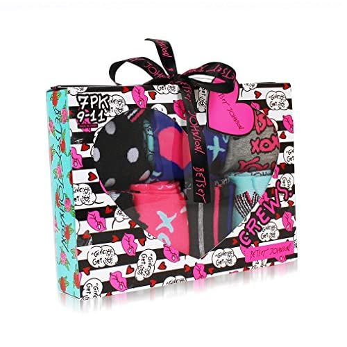 Betsey Johnson Women's 9 Pack Fashion Dot Lips Crew Gift Box, Assorted, 9-11