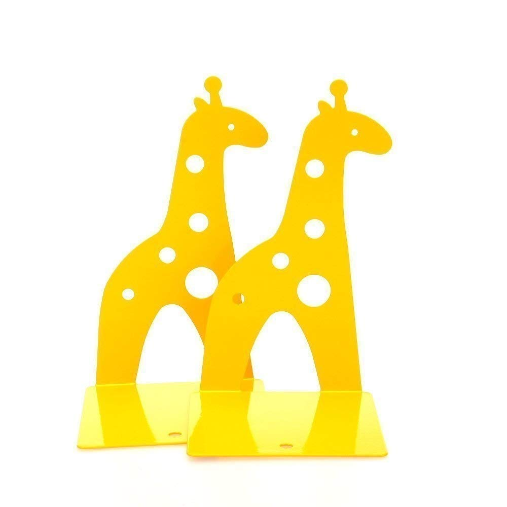 Buchstützen/Buchstützen mit niedlichem Giraffe, rutschfest, 210 mm, Gelb, 1 Paar FGVBHTR