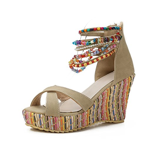 MAIERNISI JESSI Women's Colorful Bohemian Style Wedge Heel Beaded Sandals Apricot 42 - US 9.5