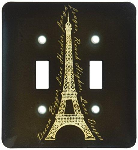 (3dRose lsp_165896_2 Paris Dream Bigger Inspirational Design Black and Gold Light Switch Cover)