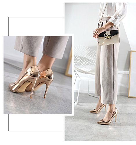 Comfortable Female Mouth Shoes Fashion Lady Champagne Pointed Dream High Elegant 10cm Heels Champagne Shoes color Wedding Sexy Leather Color PU Vintage Shallow 6UqgExag