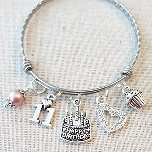 11th BIRTHDAY Bracelet, 11th Birthday Charm Bracelet, Granddaughter Daughter Gift Idea, Eleventh Birthday Gift, 11 Year Old Birthday Bangle 51aDOeu6PGL