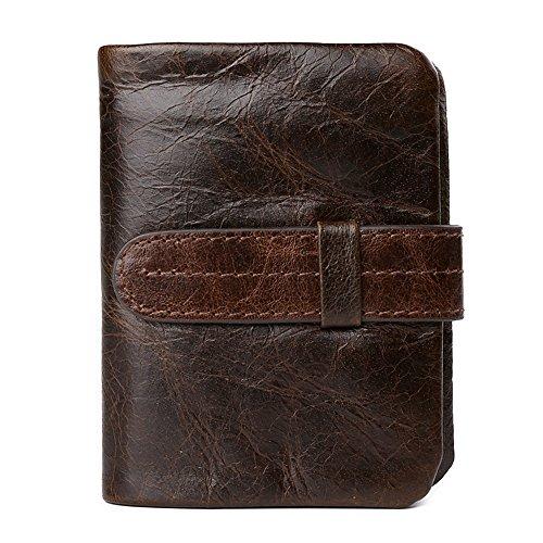 VRLEGEND Men Slim Bifold Wallet Vintage Genuine Leather Wallet With Strap Closure (Vertical)