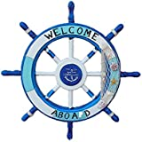 24 Inch Wood Nautical  quot;Welcome Aboard  quot; Sign Wall Garden Decor Ship Steering Wheel