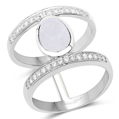 (Huang and Co. 2.13 Carat Genuine White Rainbow Moonstone and White Topaz .925 Sterling Silver Ring)