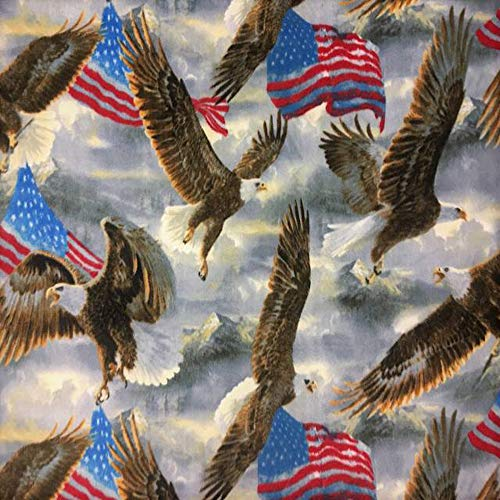 """American Eagles and Flags Allover Fleece Fabric - 60"""" Wide - Style# 3037"""