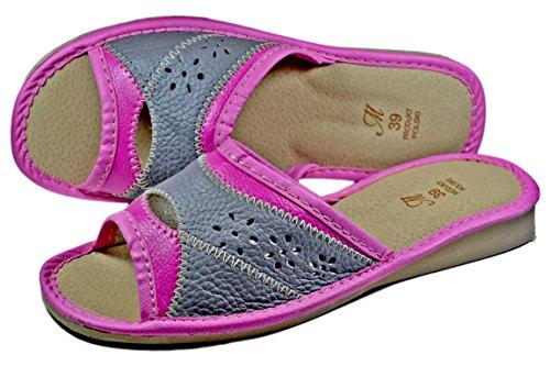 (Women's Genuine Leather House Indoor Slippers Ladies Slides (9) Pink)