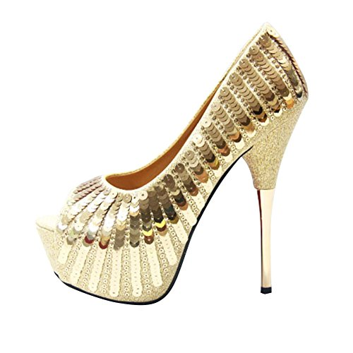 Women's Fashion Peep Toe Studded Sequins Super High Heel Pump Party Shoes golden AKVKr