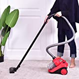 COSTWAY Cyclonic Canister Vacuum Bagless Rewind Corded Powerful Vacuum Cleaner w/Washable Filter Red