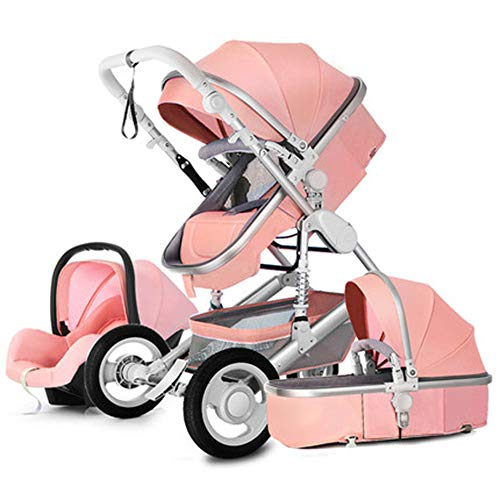 Luxury Newborn Baby Stroller,Babyfond Anti-Shock 3 in 1 Stroller Multifunctional,Infant High View Pram Convertible Carriage,Sturdy Constructure Reinforced Aluminum Frame,Easy to Fold,Pink