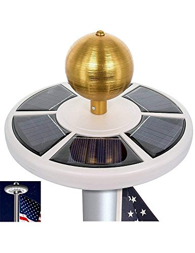 HiMo Solar Power Flag Pole Light with Flag LED Downlights, Auto On/Off and Waterproof for Most 15 to 25 Ft Flag Pole Night Lighting Eco-Friendly Figurine Lights by HiMo