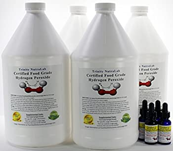 Four Gallons of 35% Food Grade Hydrogen Peroxide Purest on the Market with Four Free H2o2 Filled Dropper Bottles.