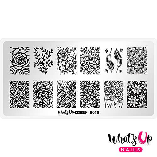 Whats Up Nails - B018 Fields of Flowers Stamping Plate for Nail Art Design