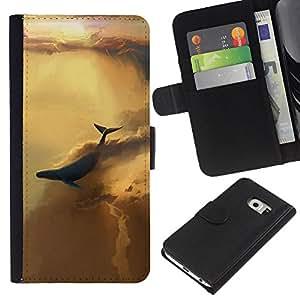 """JackGot ( Resumen Cielo Ballena"""" ) Samsung Galaxy S6 EDGE (NOT S6) la tarjeta de Crédito Slots PU Funda de cuero Monedero caso cubierta de piel"""