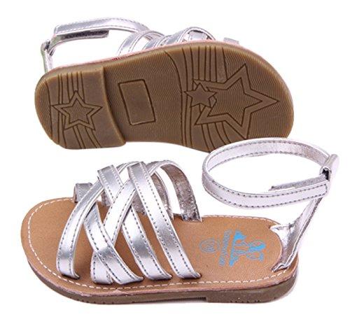 Happy Cherry Zapatos Sandalia para Bebés Niñas Bandas Cruzadas Cierre de Velcro - Color Oro Talla 11 (3-5 meses) color argénteo