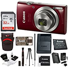 Canon PowerShot ELPH 180 20 MP cámara digital (Plata) + 32 GB Bundle Rojo
