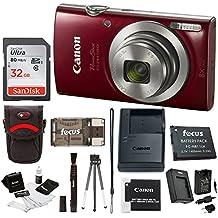 Canon PowerShot ELPH 18020MP cámara digital (Plata) + 32GB Bundle Rojo