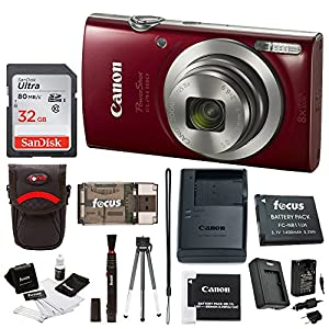 51aDPKrmYjL. SS300  - Canon PowerShot ELPH 180 20 MP Digital Camera (Red) + 32GB Card + Battery and Charger + Accessory Bundle