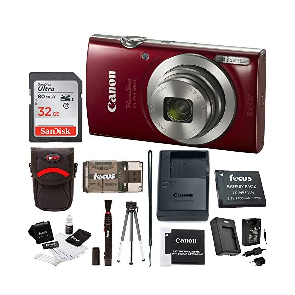 51aDPKrmYjL. SS600  - Canon PowerShot ELPH 180 20 MP Digital Camera (Red) + 32GB Card + Battery and Charger + Accessory Bundle