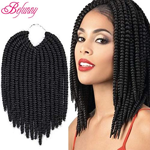 Befunny 8inch 6Packs Afro Kinky Twist Crochet Hair Short