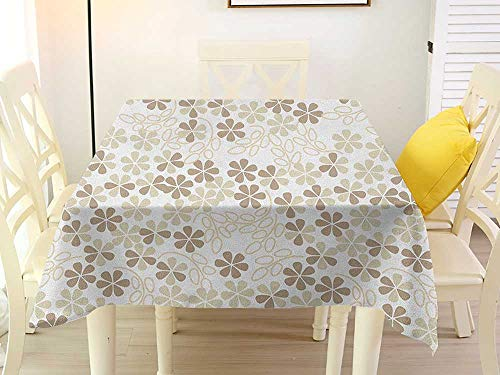 L'sWOW Square Tablecloth Waterproof Flower Flowers Bouquet Blossoms Ornamental Simplistic Monochromic Summer Artwork Beige Umber Cream Wedding 70 x 70 Inch