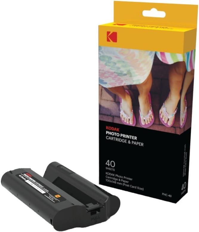 Kodak Dock & Wi-Fi Photo Printer Cartridge PHc – Cartridge Refill & Photo Paper - 40 Pack