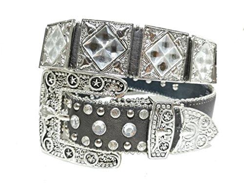 Rhinestone Cowboy Belt (New Mens Western Cowboy Cowgirl Silver Longhorn Star Rhinestones Shiny Leather Belt)