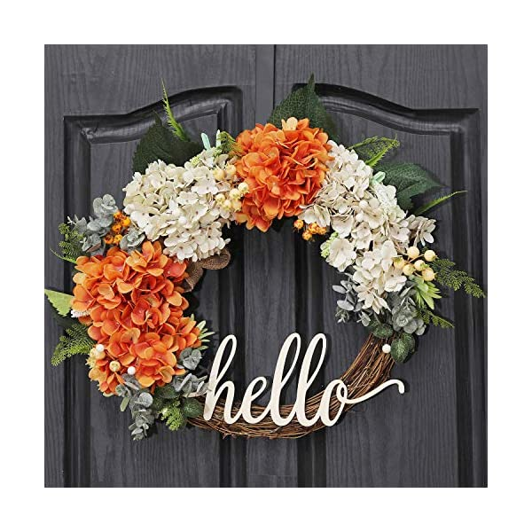 QUNWREATH Handmade Floral 18 inch Handmade Hydrangea Series Wreath,Gifts Package,Free Hooks,Front Door Rustic Wreath,Farmhouse Wreath,Grapevine Wreath,Light up Wreath,Everyday Wreath,QUNW55