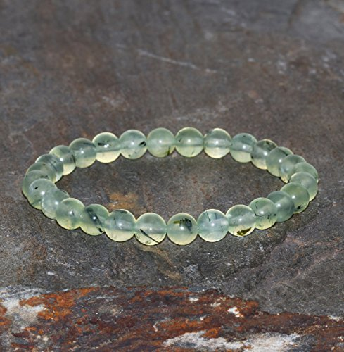 Handmade Beaded Gemstone Jewelry (Green Prehnite Bracelet Handmade 6mm Prehnite Beaded Gemstone Bracelet Prehnite with Natural Inclusions Green Translucent Bracelet Stacking)