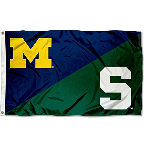 College Flags and Banners Co. MSU Spartans vs. UM Wolverines House Divided 3x5 Flag