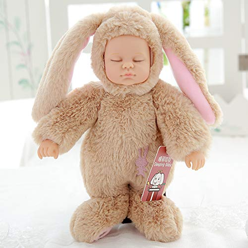 45 Cm Rabbitkhaki DONGER Toy Sleep Cute Doll Soft Rubber Comfort Accompany Sleeping Doll Simulation Doll Toy Doll Birthday Gift Female, Rabbit  White, 25 Cm
