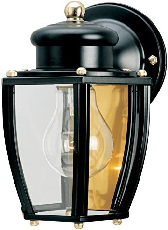 Westinghouse Lighting 6696100 One-Light Exterior Wall Lantern, Matte Black Finish on Steel with Clear Curved Glass Panels
