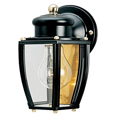 Westinghouse 6696100 One-Light Exterior Wall Lantern, Matte Black Finish on Steel with Clear Curved Glass Panels - One-light exterior wall lantern Matte black finish on steel; brass hardware; clear curved glass panels 7-3/4 by 6 inches (H x W); extends 6-1/2 inches; 2-1/4 inches high from center of outlet box; back plate is 4-1/2 inches in diameter - patio, outdoor-lights, outdoor-decor - 51aDQUuLWUL. SS400  -