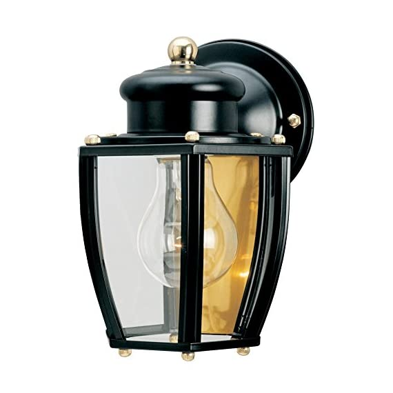 Westinghouse Lighting 6696100 One-Light Exterior Wall Lantern, Matte Black Finish on Steel with Clear Curved Glass Panels - One-light exterior wall lantern Matte black finish on steel; brass hardware; clear curved glass panels 7-3/4 by 6 inches (H x W); extends 6-1/2 inches; 2-1/4 inches high from center of outlet box; back plate is 4-1/2 inches in diameter - patio, outdoor-lights, outdoor-decor - 51aDQUuLWUL. SS570  -
