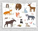 Ambesonne Cabin Decor Tapestry by, Cute Animals in Spring Meadow Childish Woodland Fauna Kids Baby Room Nursery, Wall Hanging for Bedroom Living Room Dorm, 60 W X 40 L Inches, Multicolor