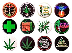 "Pack-12 Medical Cannabis Magnets Classic Bundle # 2, 2.25"" Diameter"