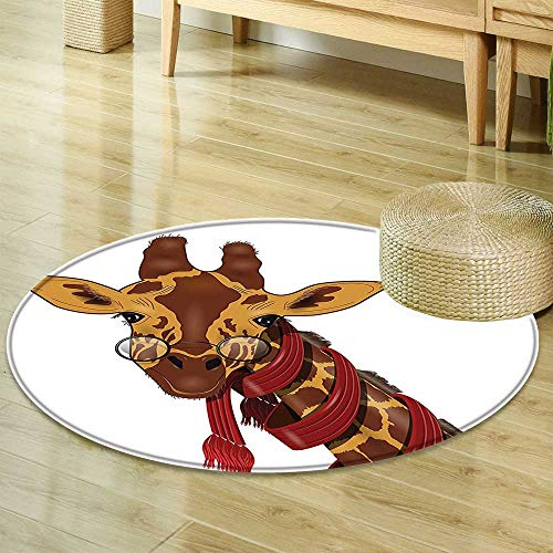 Tile Collection Images Glass - Mikihome Print Area Rug Cartoon Decor Collection Giraffe Wearing Glasses in a Red Scarf Educated Smart Looking Fun Image Peru Sienna Red Perfect for Any Room, Floor Carpet R-47