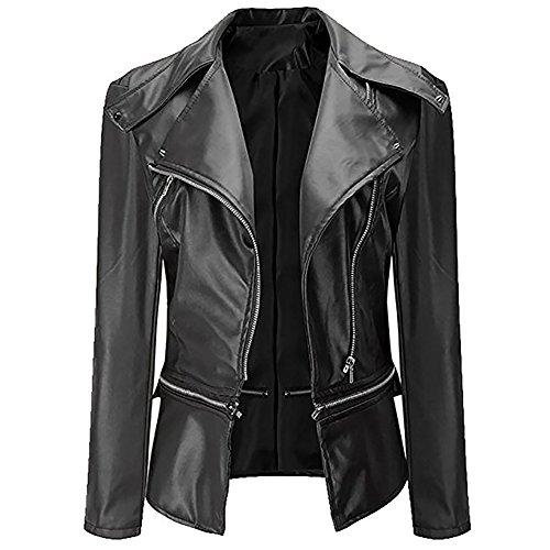 iBaste giacca di pelle Bomber bandito finta pelle giacca risvolto biker jacket Donne