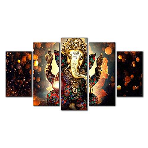 TOOGOO 5 Pcs Hindu God Ganesha Painting Printed Canvas Wall Art Picture Home Decor Gift