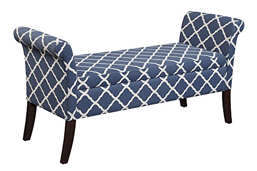 Convenience Concepts Designs4Comfort Garbo Storage Bench, Moroccan Blue Fabric (Benches Wood Arms)