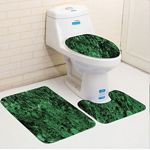 Keshia Dwete three-piece toilet seat pad customApartment Rocky Moss-Like Marble Structured Granite Material Surface View Nature Artwork Green - 24' Granite Top