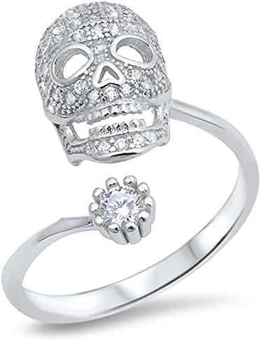 Cubic Zirconia Pave Skull Designer Adjustable Ring Sterling Silver