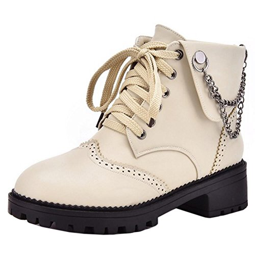 COOLCEPT Women Fashion Lace Up Mid Heel Platform Ankle Boots With Chains Beige X126TChD