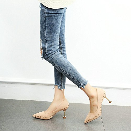 black alti scarpe sottolineato Primavera autunno lavoro YMFIE sexy scarpe tacchi da stiletto e da rivetti donna temperamento awFqzO