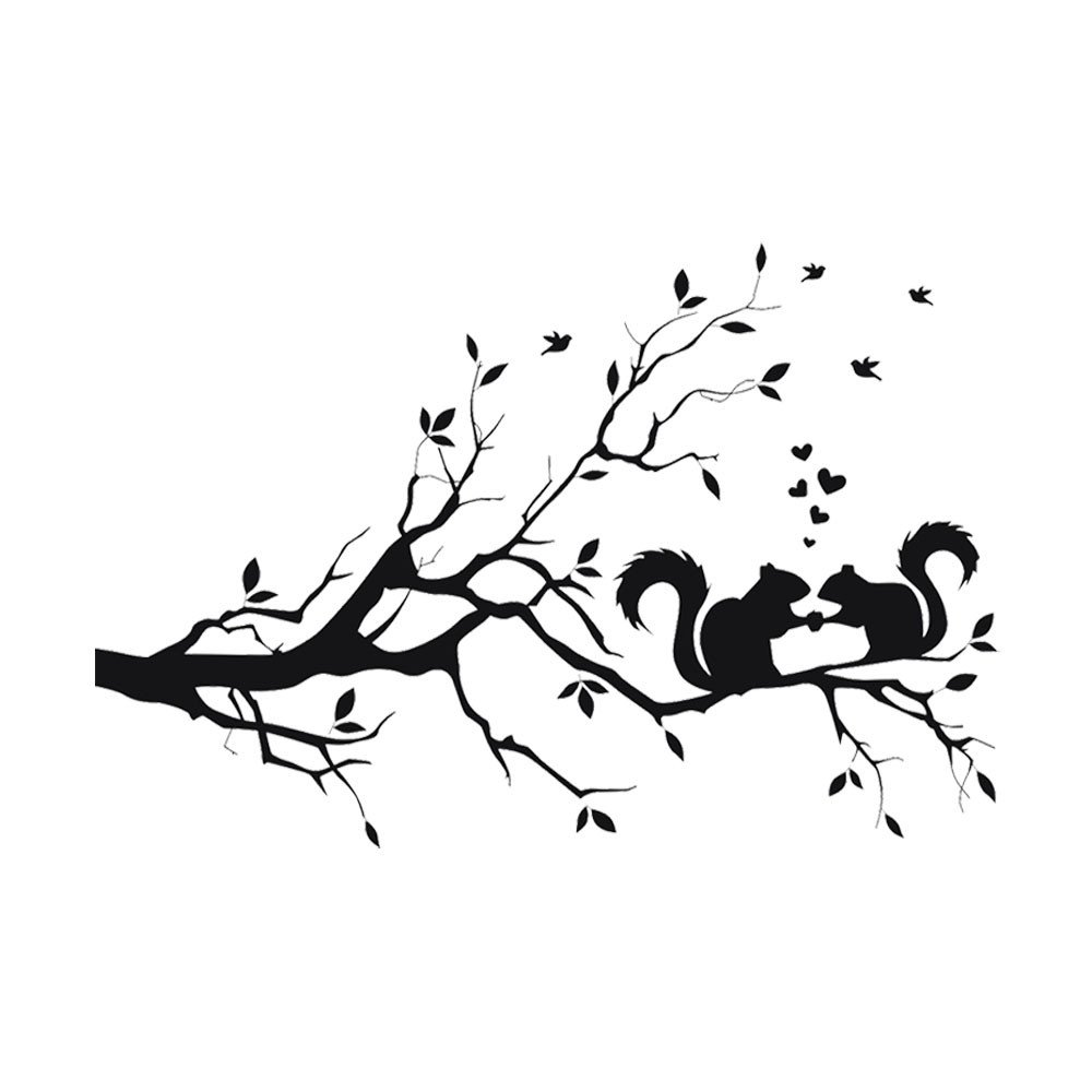 Window Decal Stickers Clings Squirrel On Long Tree Branch Wall Sticker Animals Cats Art Decal Kids Room Decor Removable Wall Stickers Home Peel and Stick Wall Decals (As Shown)