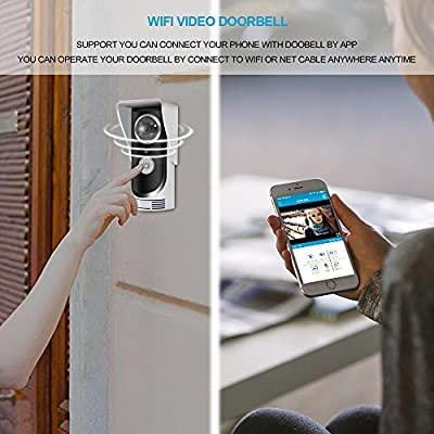 Video Doorbell Sunsbell Wireless Wifi Video Doorbell 2-Way Audio Doorbell Camera with Smart Motion Detetion, Infrared Night Vision