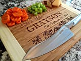 Personalized Cutting Board for Wedding Gifts - Wood Cutting Boards, Also Bridal Shower and Housewarming Gifts (11 x 14 Two Tone Bamboo Rectangular, Grayson Design)