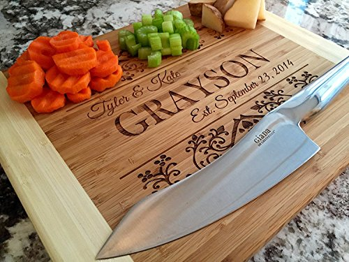 Personalized by Name Cutting Board for Kitchen - Wood Boards Housewarming & Wedding Gift (11 x 14 Two Tone Bamboo Rectangular, Grayson Design)