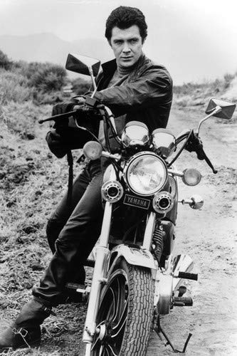 Lewis Collins in The Professionals posing with his Yamaha motorbike 11x17 Mini Poster